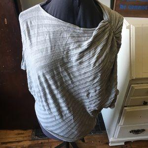 Lane Bryant asymmetrical ribbed poncho blouse